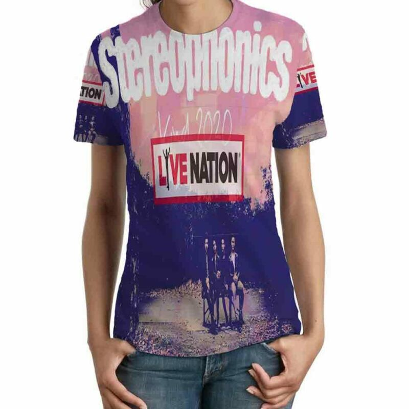 Stereophonics Tour 2020 Live Nation TSHIRT Fullprint TEE New T-Shirt FOR Womens
