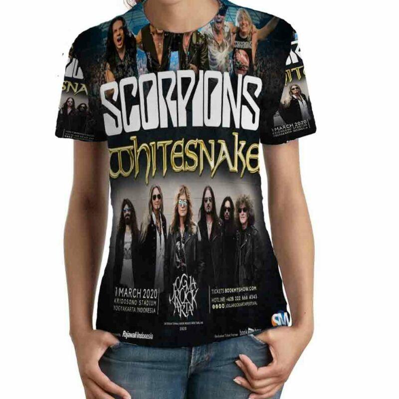 Scorpions Whitesnake Band Tour 2020 TSHIRT Fullprint TEE New T-Shirt FOR Womens