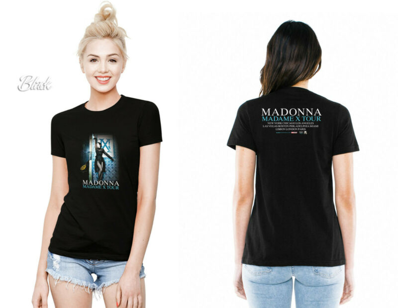 Madonna MADAME X world tour dates 2 side 2019-2020 t-shirt black womens XS-XXL