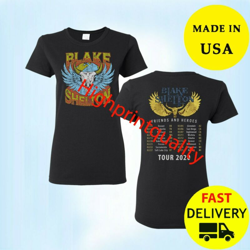 Blake Shelton Shirt Friends Heroes Tour 2020 Black Womens T-Shirt Size M-3XL