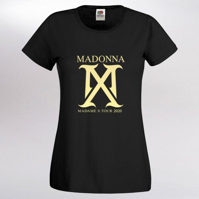 Womens Madonna Madame X Tour 2020 Shiny Gold Vinyl BLACK T Shirt UK