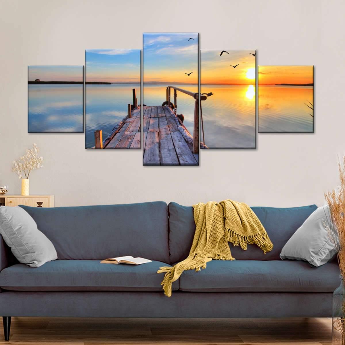 Boardwalk To Sunset Multi Panel Canvas Wall Art