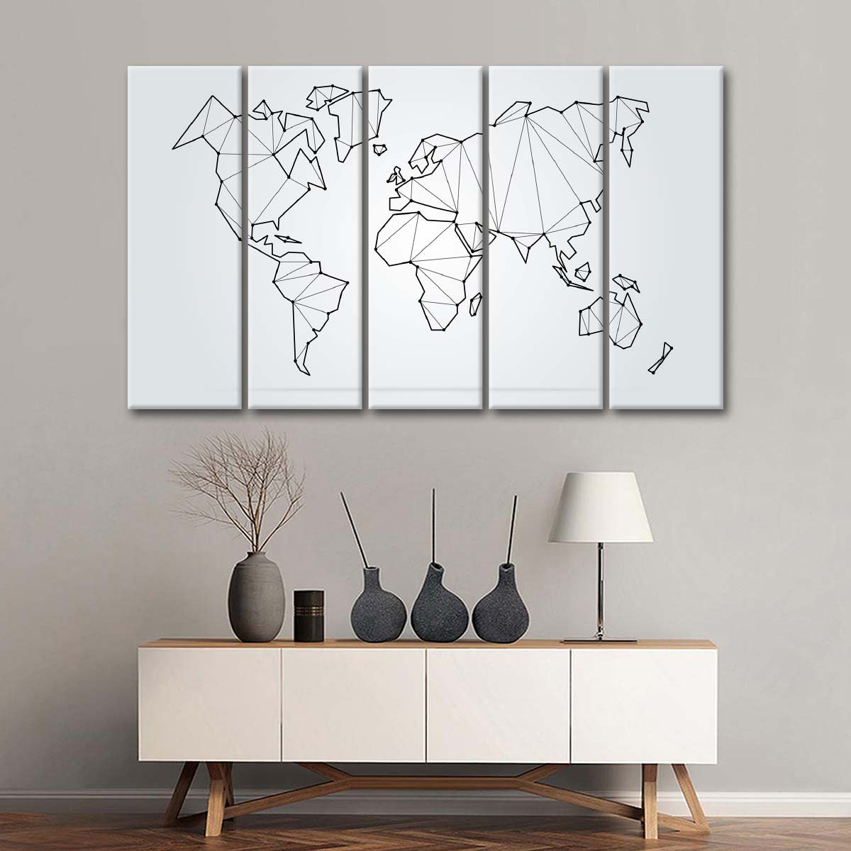 Polygonal Shape World Map Multi Panel Canvas Wall Art