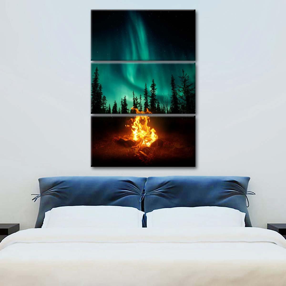 Northern Lights Campfire Multi Panel Canvas Wall Art