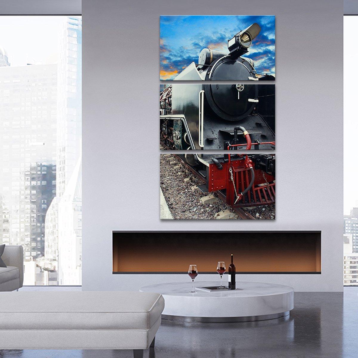 Train At Sunset Multi Panel Canvas Wall Art
