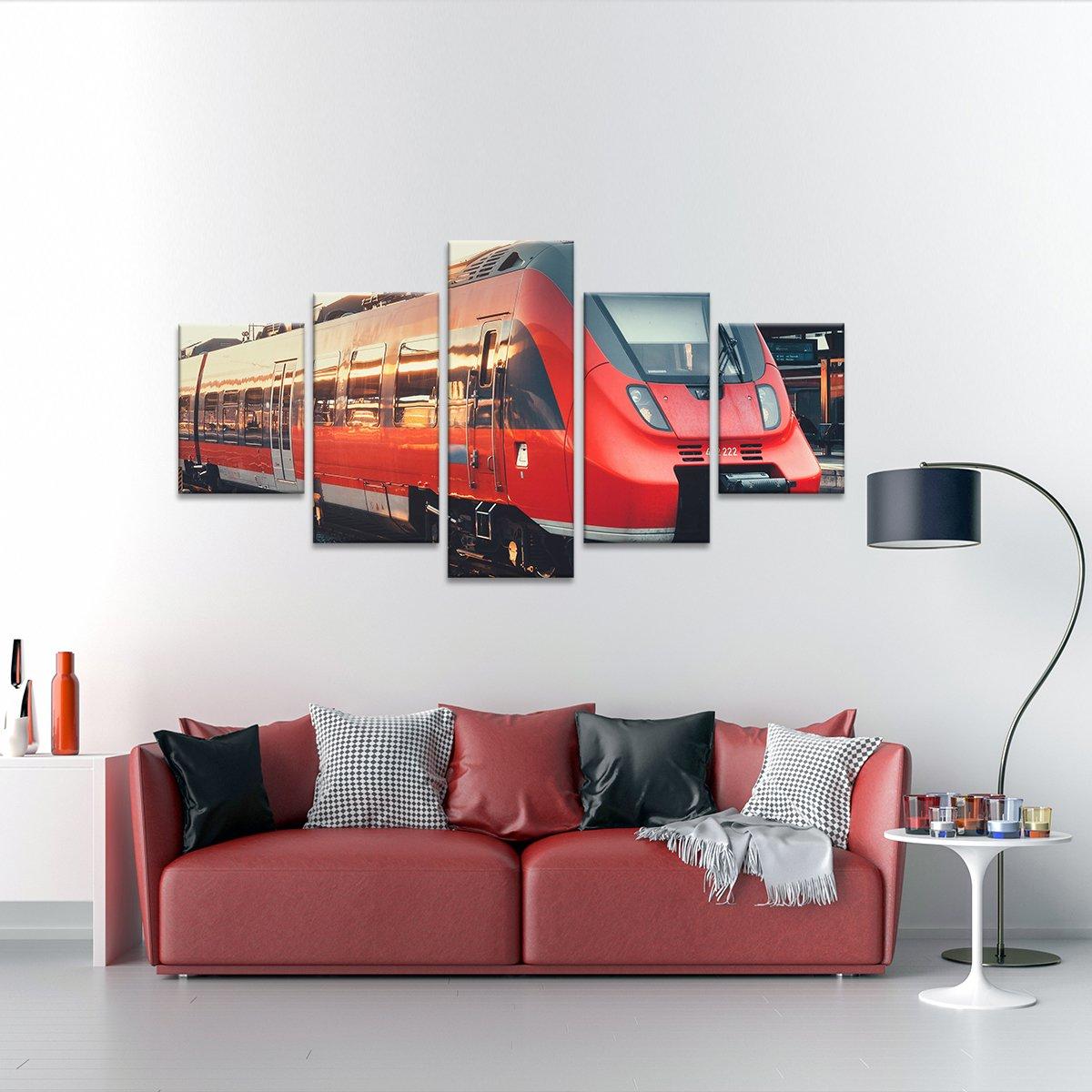 Red Train Multi Panel Canvas Wall Art