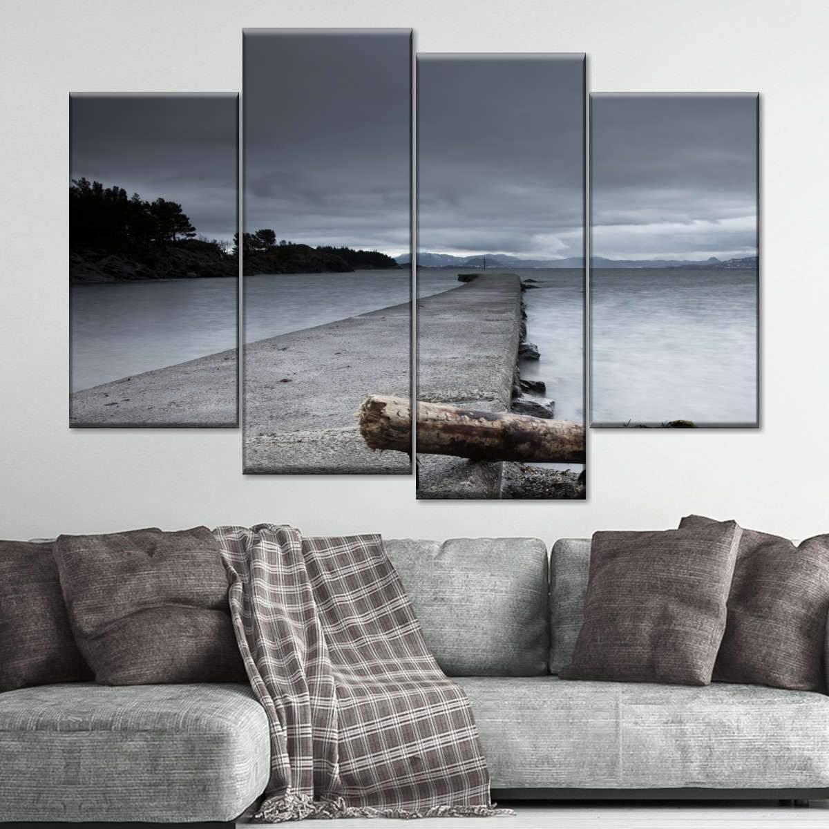 Pier in Norway Multi Panel Canvas Wall Art