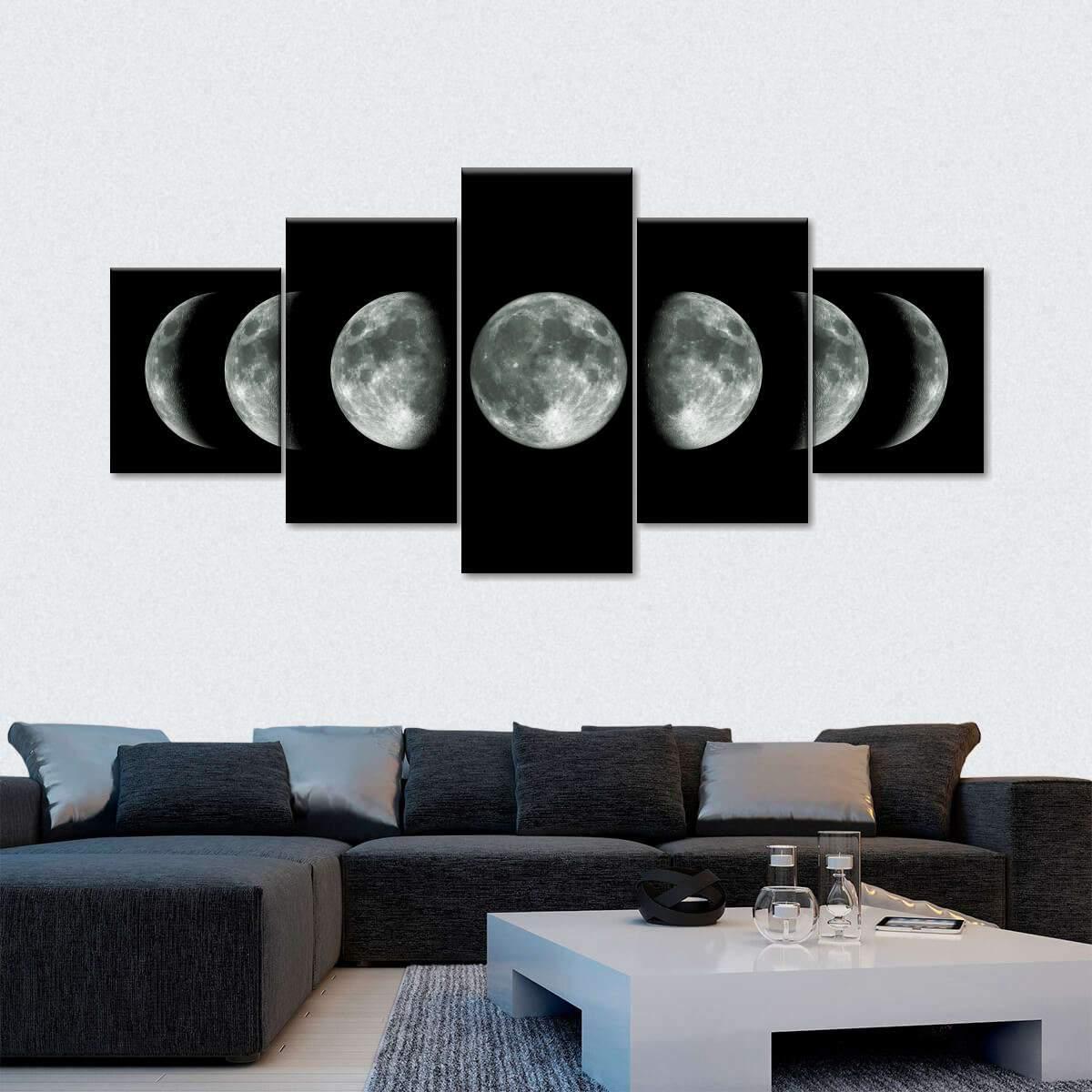 Moon Cycle Multi Panel Canvas Wall Art