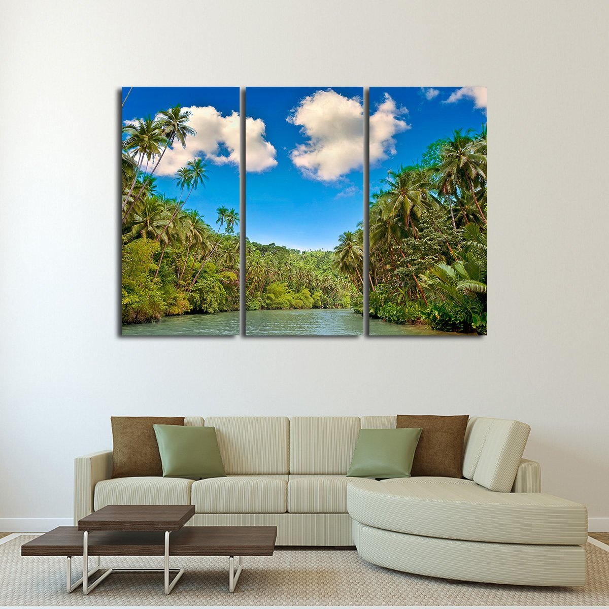 Tropical River Multi Panel Canvas Wall Art