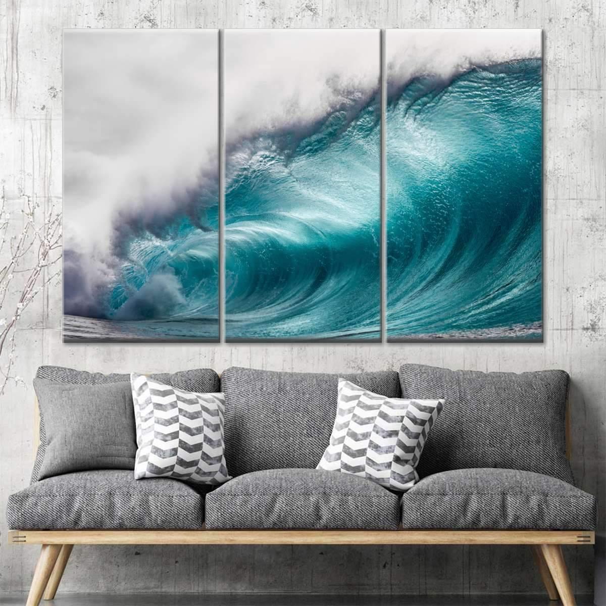 Wave At Waimea Bay Multi Panel Canvas Wall Art