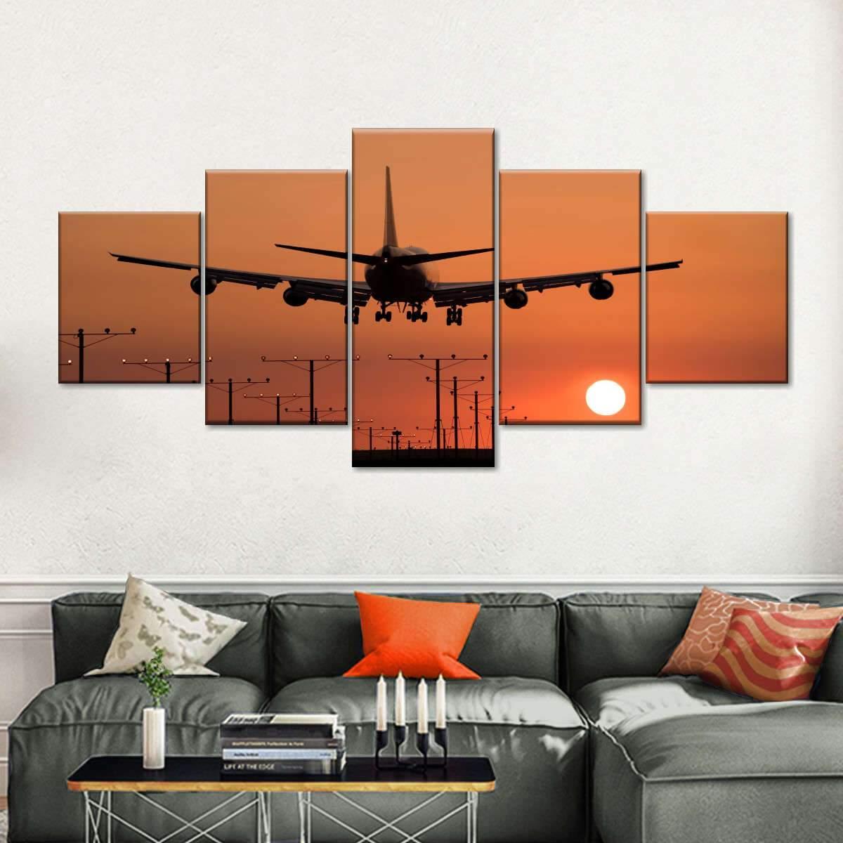 Landing Sunset Multi Panel Canvas Wall Art