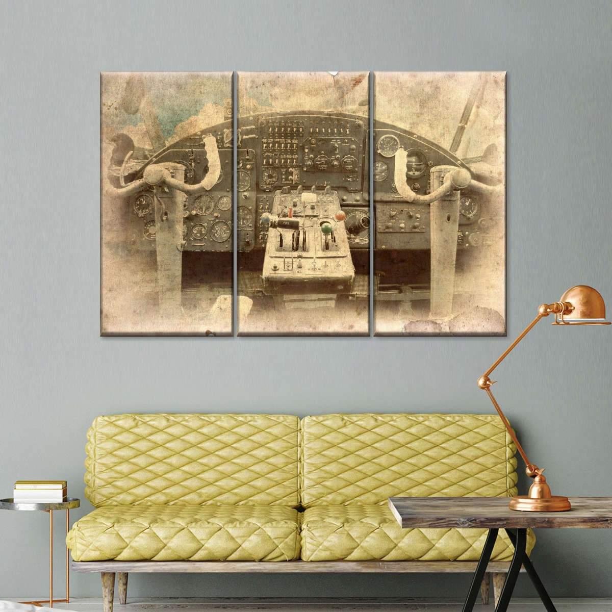 Cockpit Postcard Multi Panel Canvas Wall Art