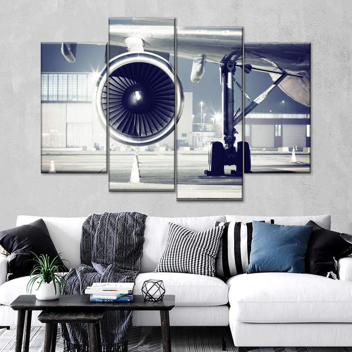 Airplane Turbine Multi Panel Canvas Wall Art