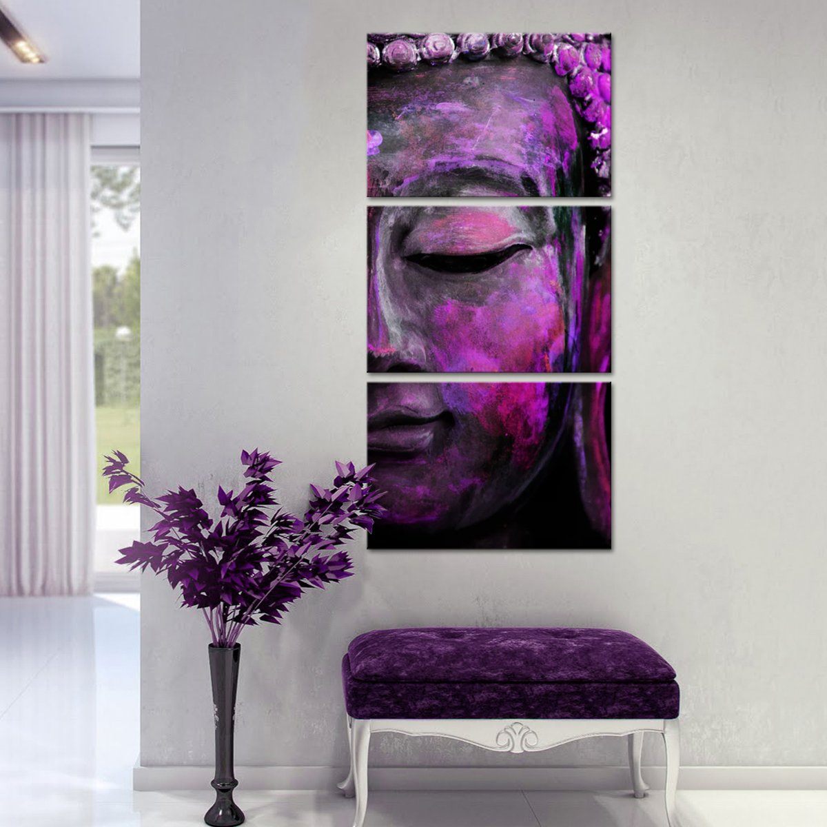 Fuchsia Tides of Tranquility Multi Panel Canvas Wall Art