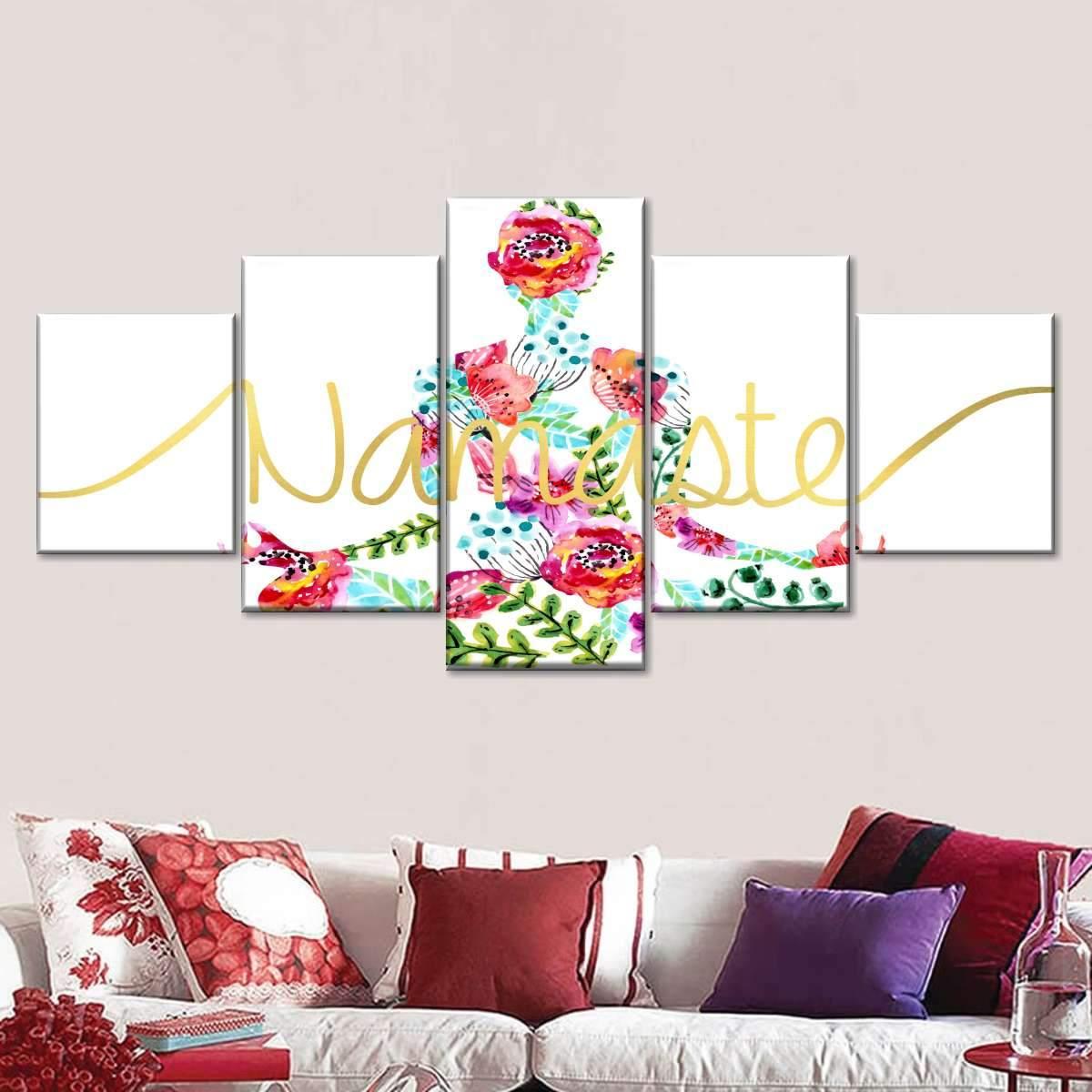 Watercolor Namaste Multi Panel Canvas Wall Art