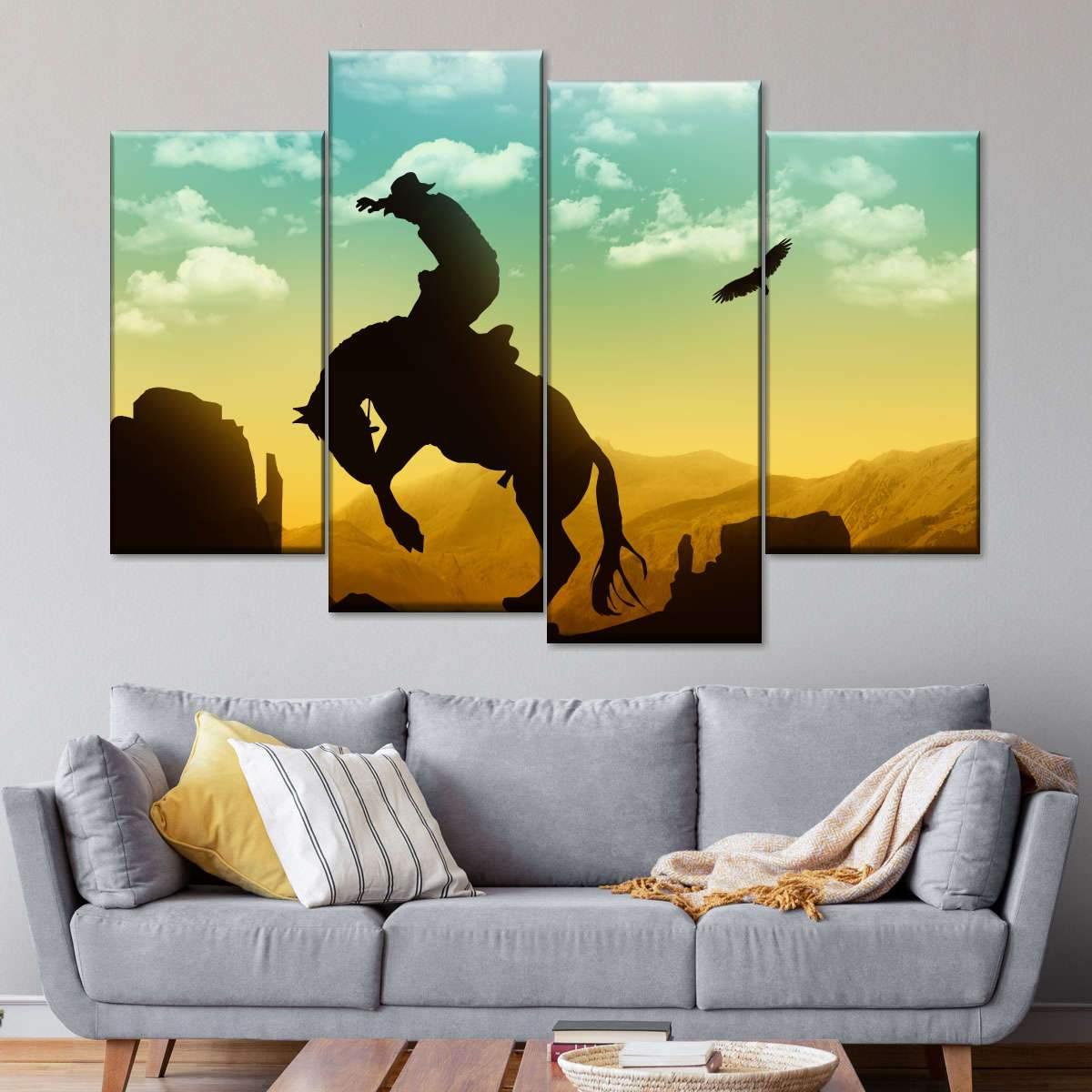 Eagle and Cowboy Multi Panel Canvas Wall Art
