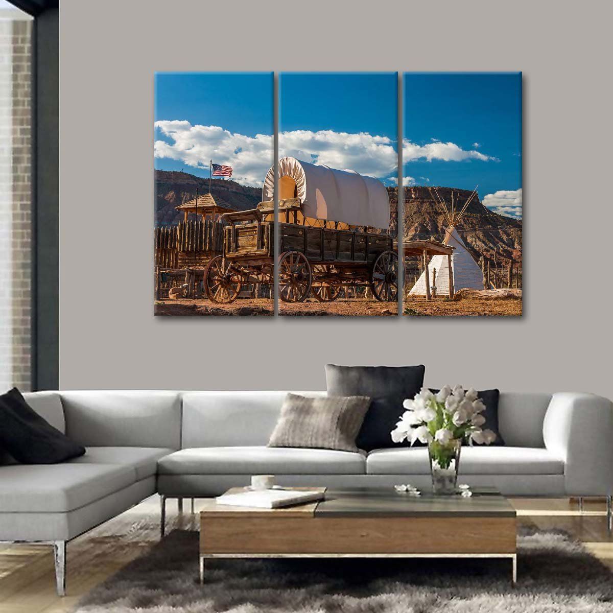 Western Fort Multi Panel Canvas Wall Art