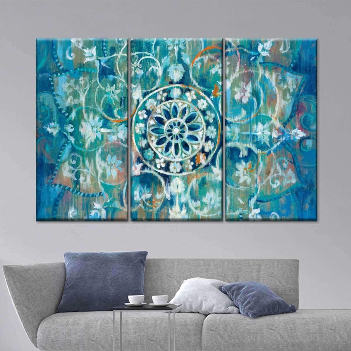 Mandala in Blue I Multi Panel Canvas Wall Art