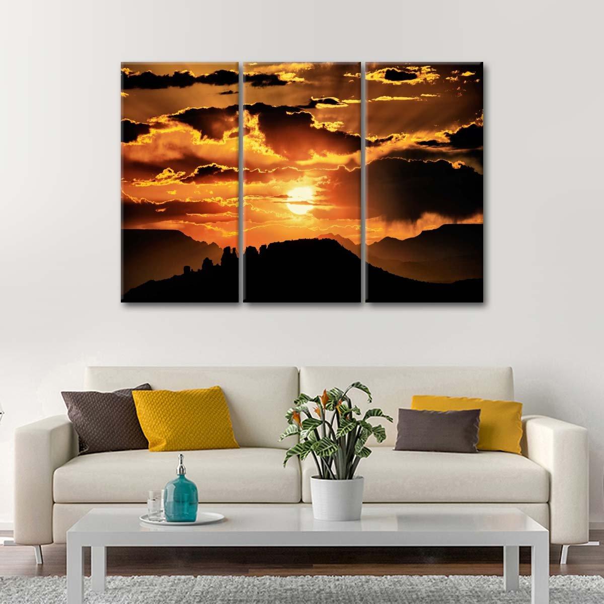 Sunset in Sedona Multi Panel Canvas Wall Art