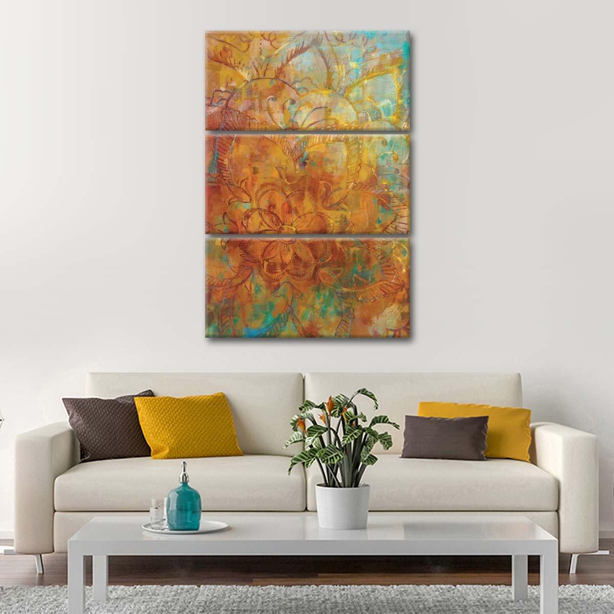 Bohemian Abstract Bright Multi Panel Canvas Wall Art