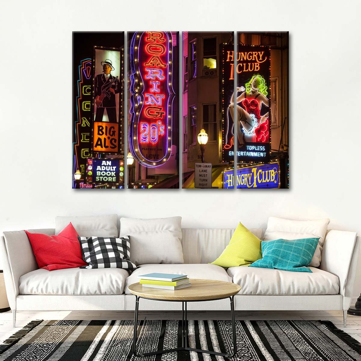 Red Light District In San Francisco Multi Panel Canvas Wall Art