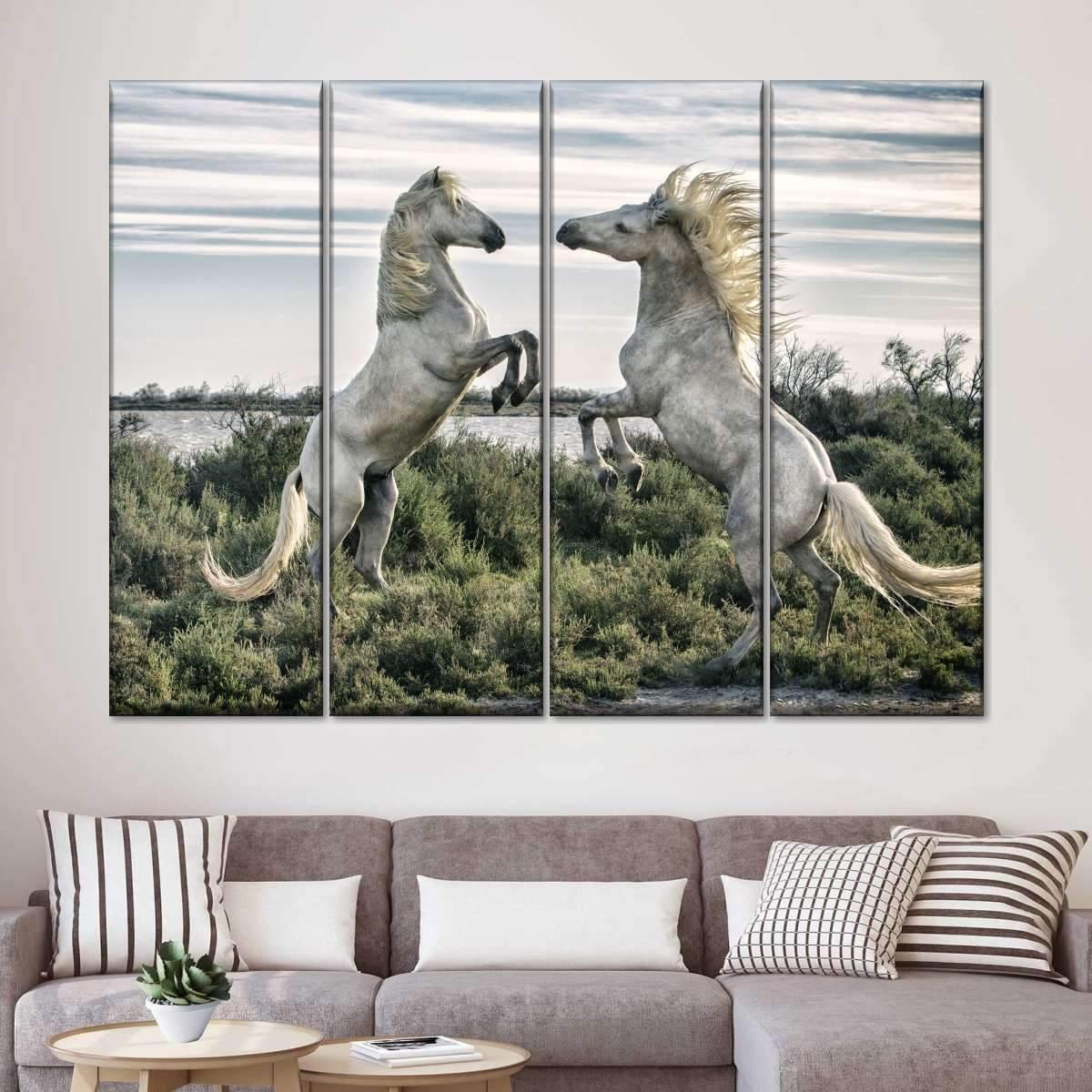 Fighting Horses Multi Panel Canvas Wall Art