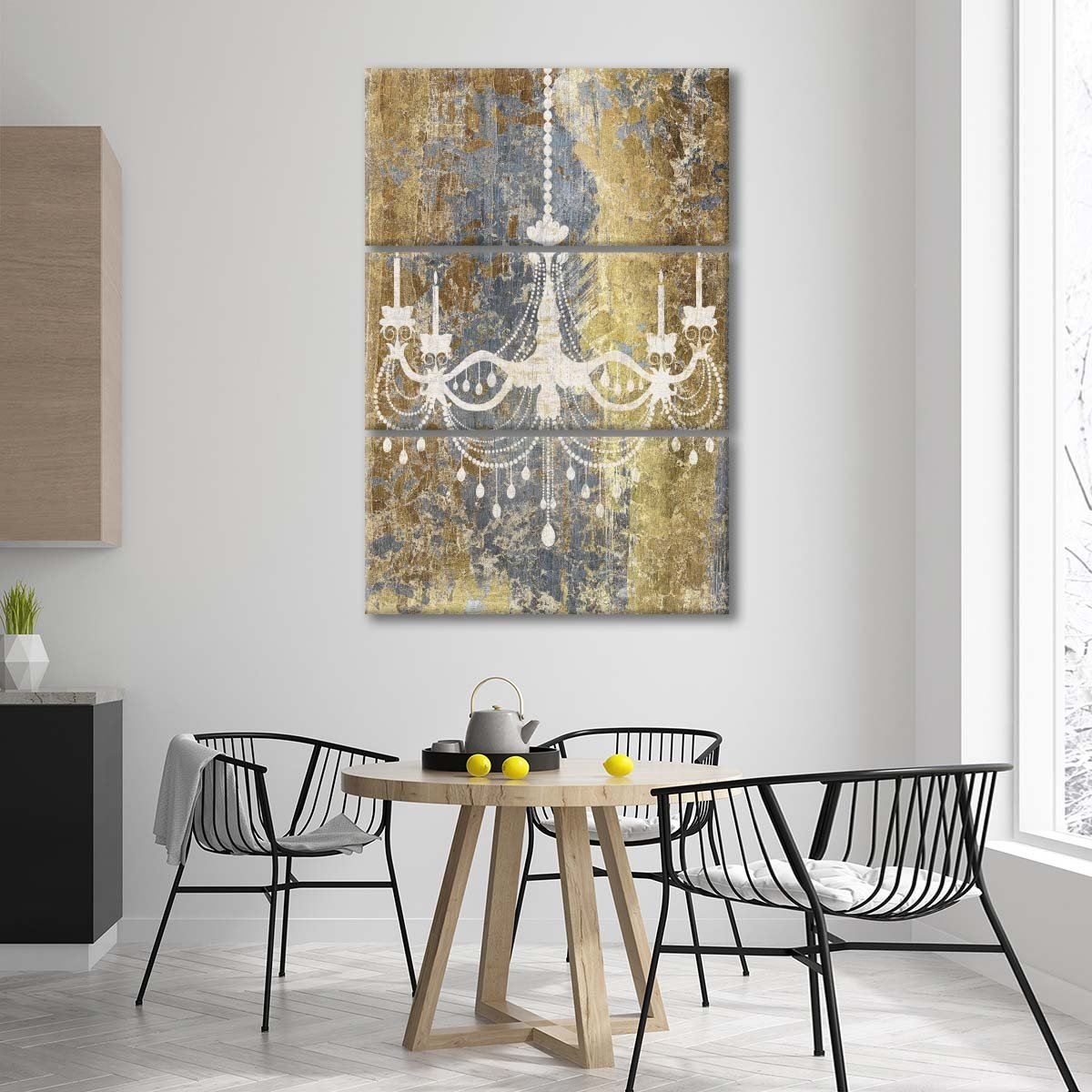 Gilded Chandelier Multi Panel Canvas Wall Art