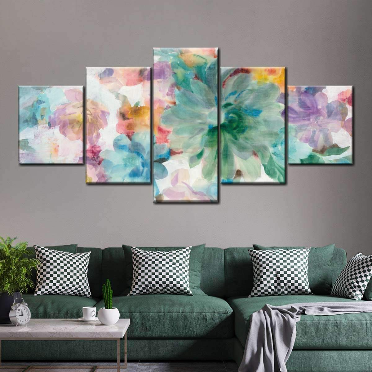 Succulent Florals Crop Multi Panel Canvas Wall Art
