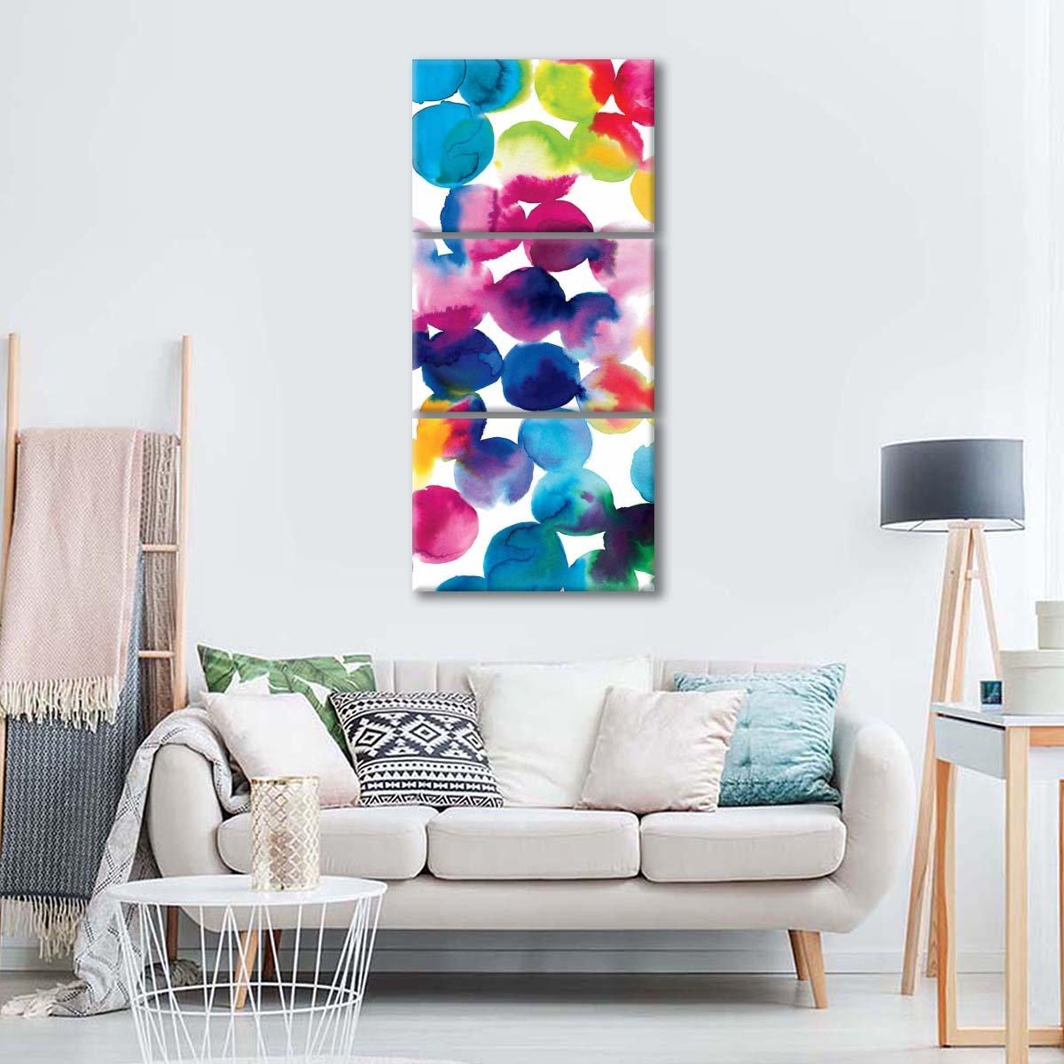 Bright Circles II Multi Panel Canvas Wall Art