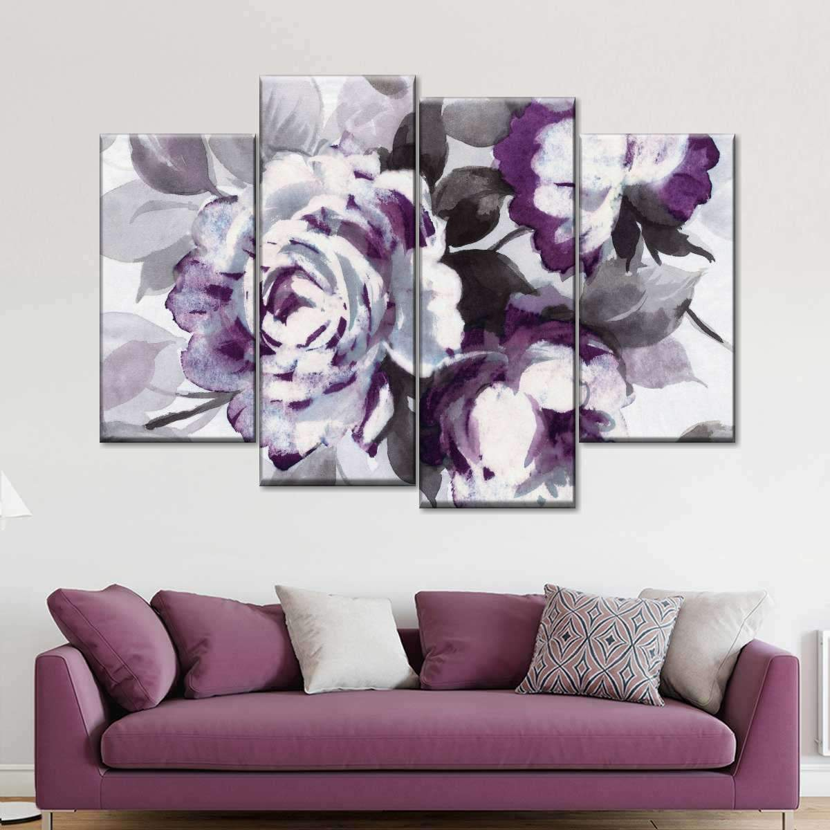 Scent of Roses Plum III Multi Panel Canvas Wall Art