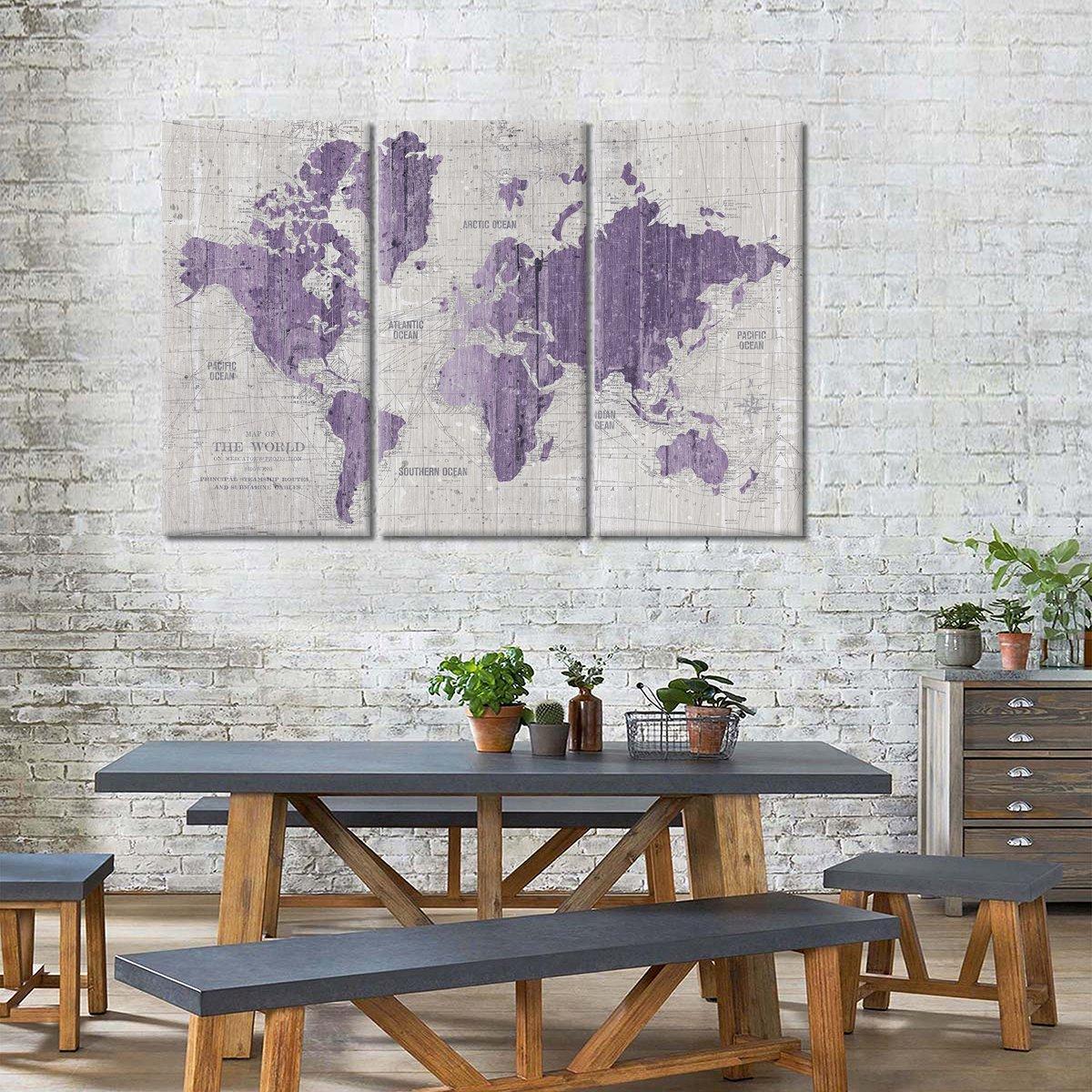 Old World Map Purple Gray Multi Panel Canvas Wall Art
