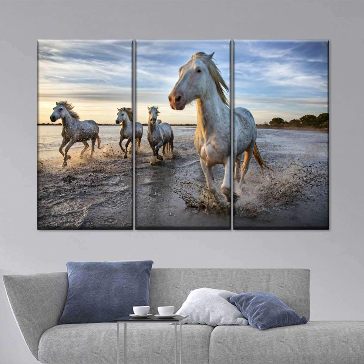 Spirited White Horses Multi Panel Canvas Wall Art