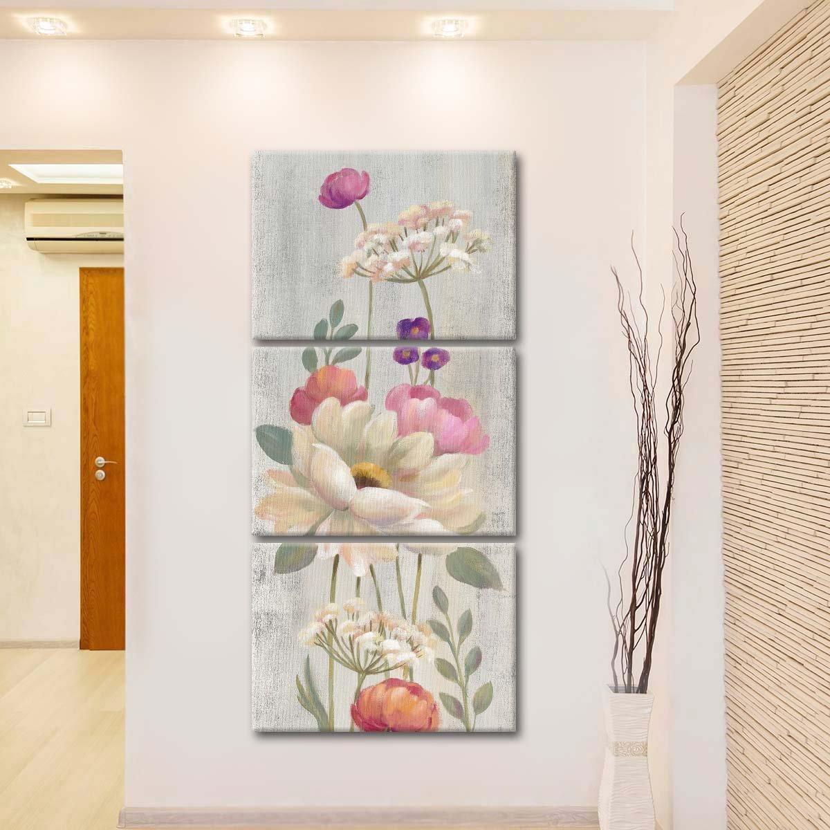 Retro Floral I Multi Panel Canvas Wall Art
