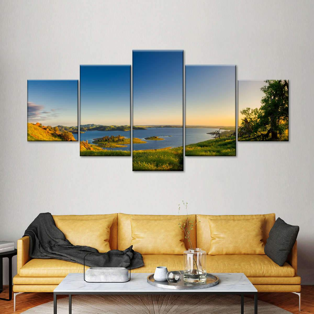 Mountain Sunset Panoramic Multi Panel Canvas Wall Art