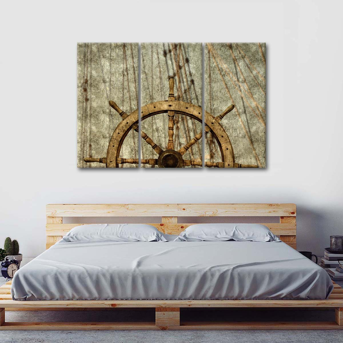 Wooden Steering Wheel Multi Panel Canvas Wall Art