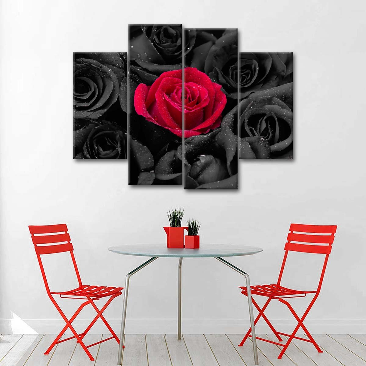Red Rose Pop Multi Panel Canvas Wall Art