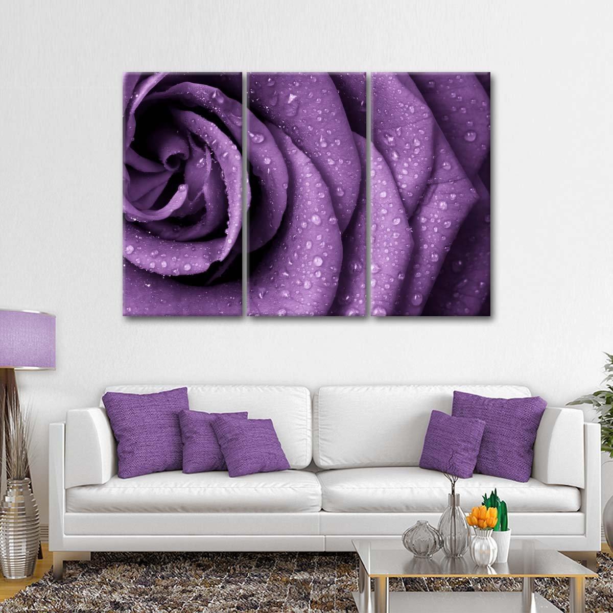 Radiant Violet Rose Multi Panel Canvas Wall Art