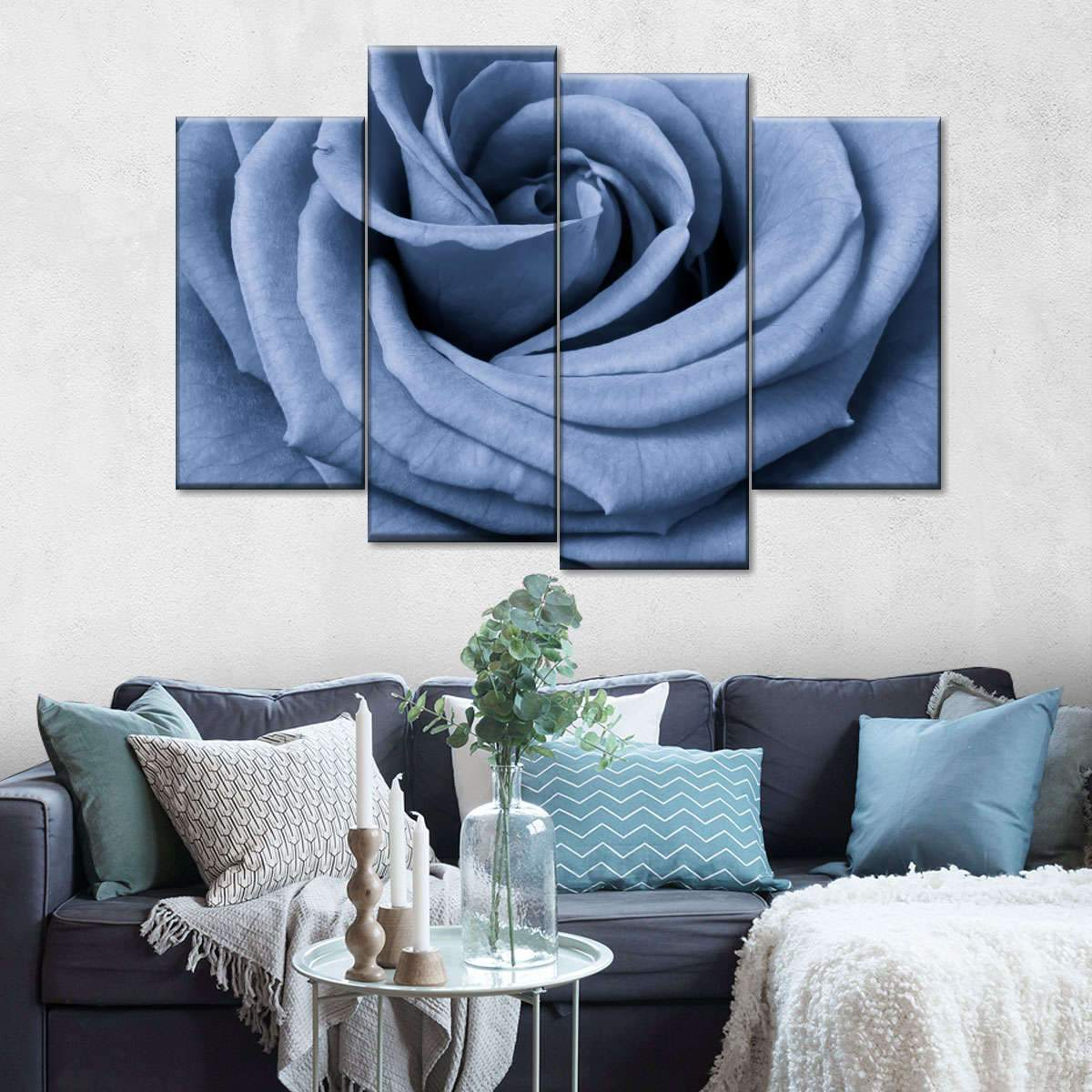 Blue Rose Petals Multi Panel Canvas Wall Art
