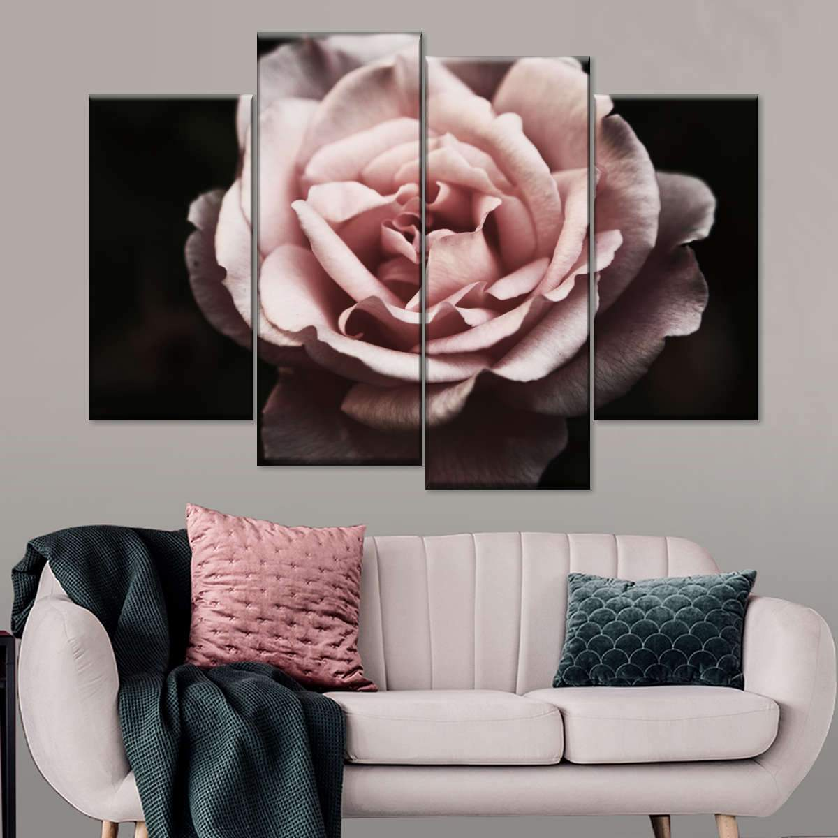 Withering Carnation Rose Multi Panel Canvas Wall Art