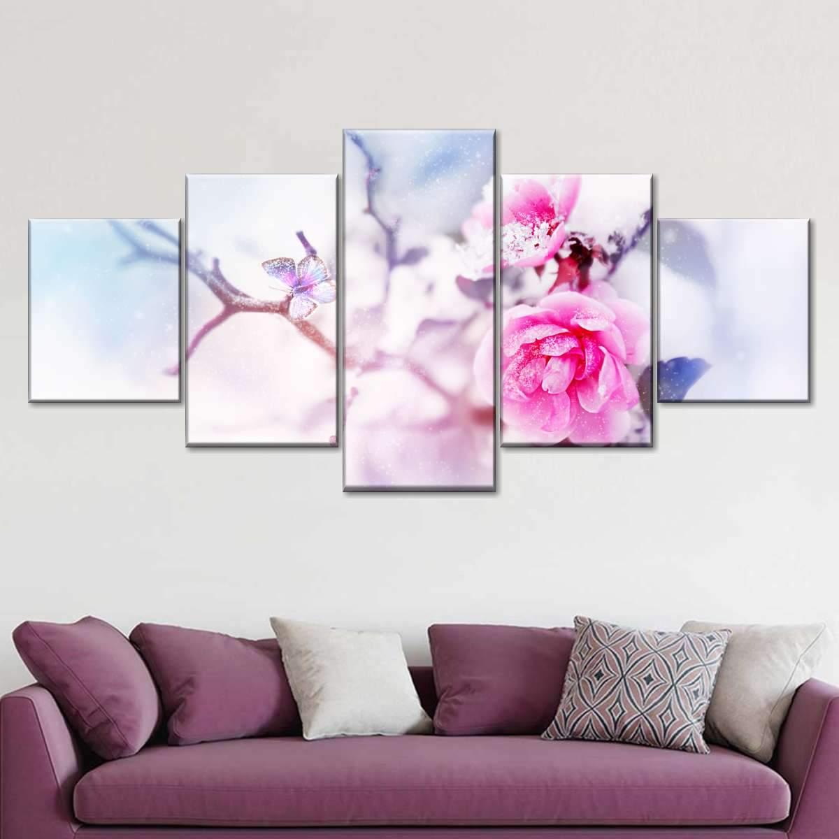 Snow Pink Flower Multi Panel Canvas Wall Art