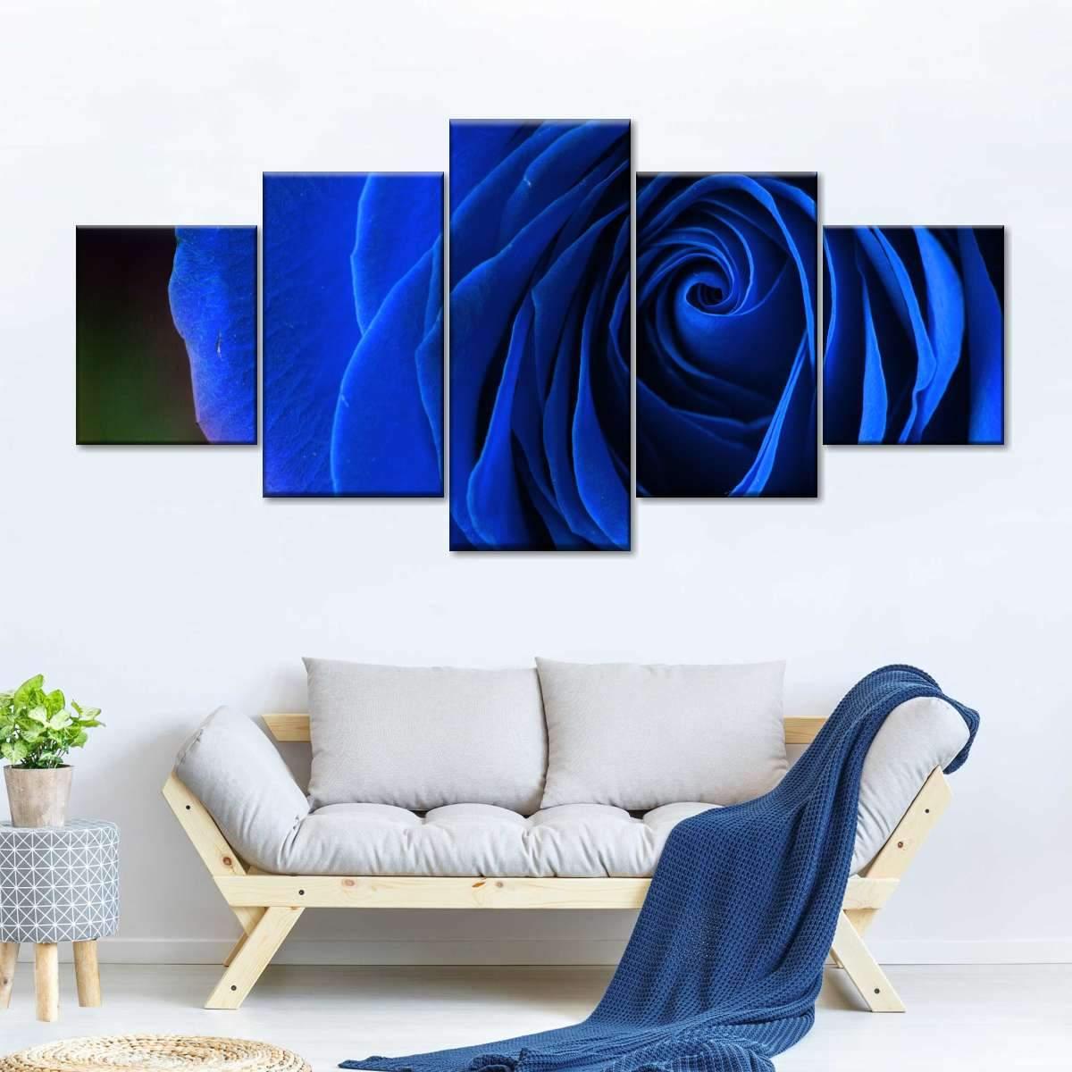Blue Rose Shrub Multi Panel Canvas Wall Art