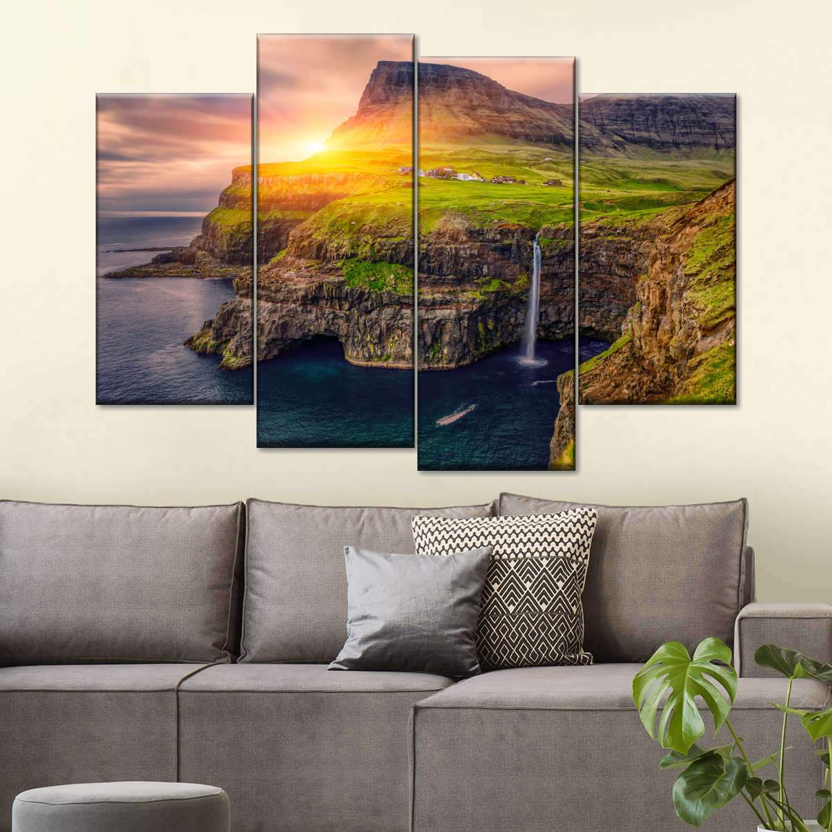 Mulafossur Waterfall Sunset Multi Panel Canvas Wall Art