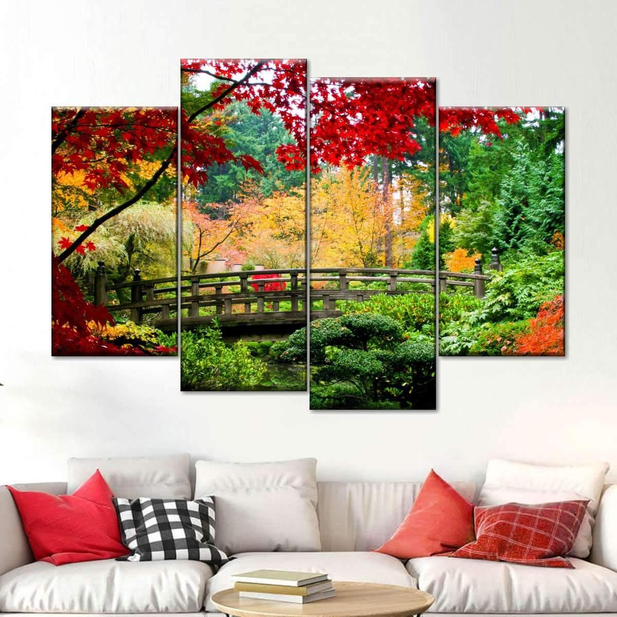 Ancient Japanese Bridge Multi Panel Canvas Wall Art