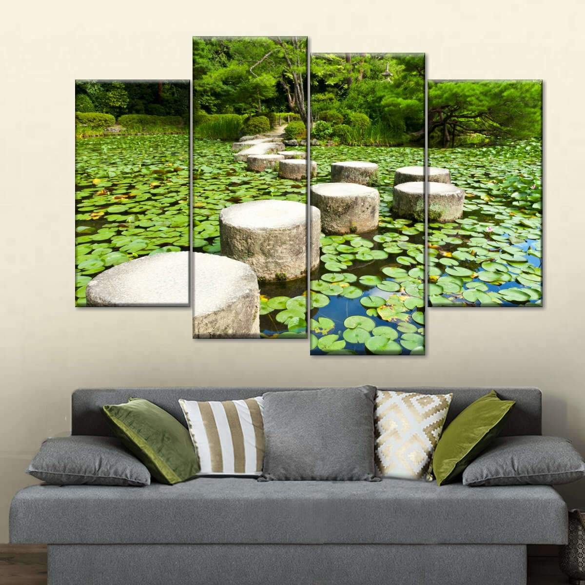Japanese Stone Bridge Multi Panel Canvas Wall Art
