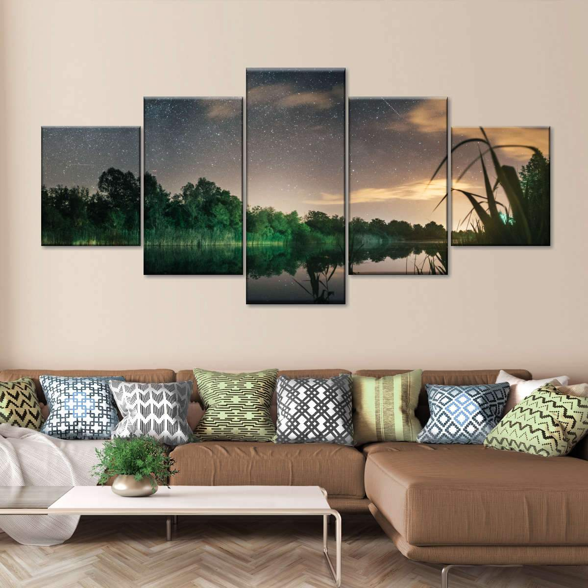 Lake Scenic View Multi Panel Canvas Wall Art