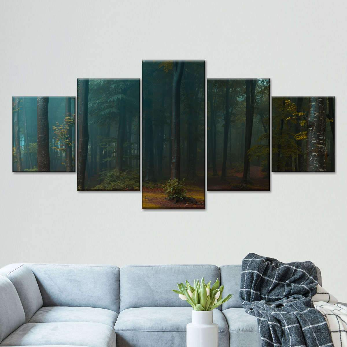 Foggy Woodland Multi Panel Canvas Wall Art