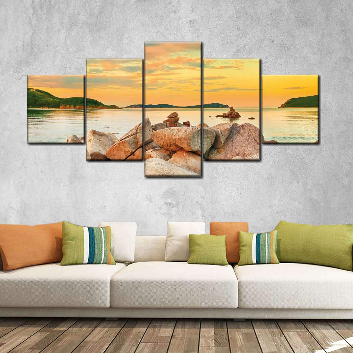 Marvelous Lake Shore Multi Panel Canvas Wall Art