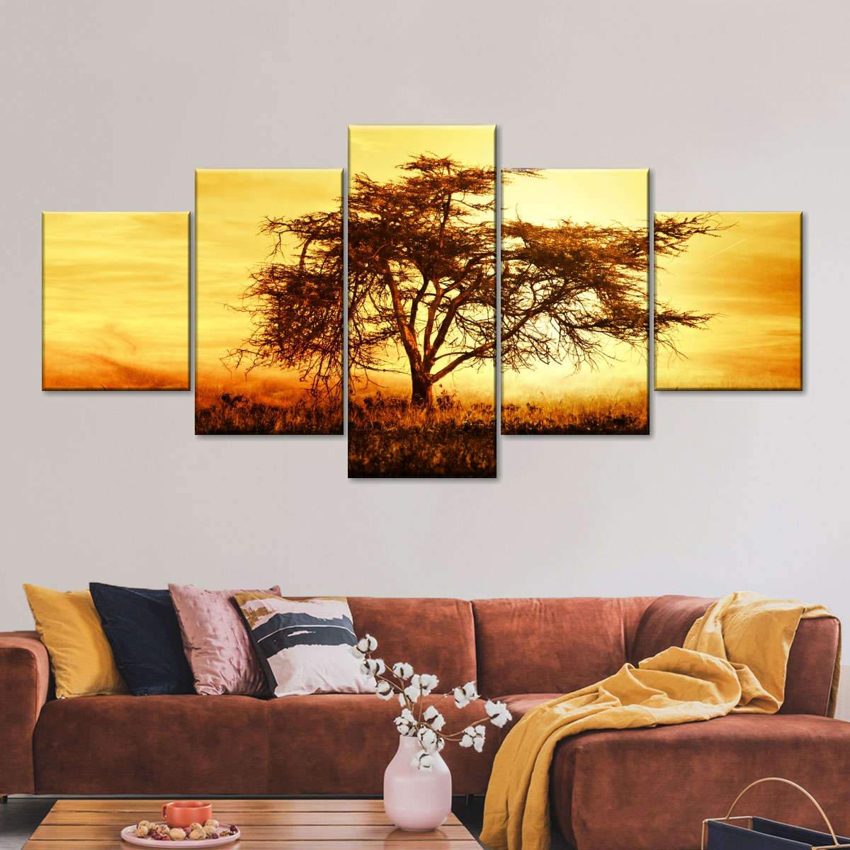 African Tree Over Sunset Multi Panel Canvas Wall Art