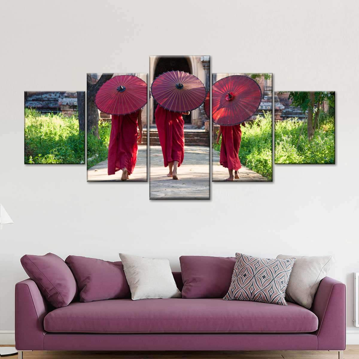 Three Monks With Parasols Multi Panel Canvas Wall Art