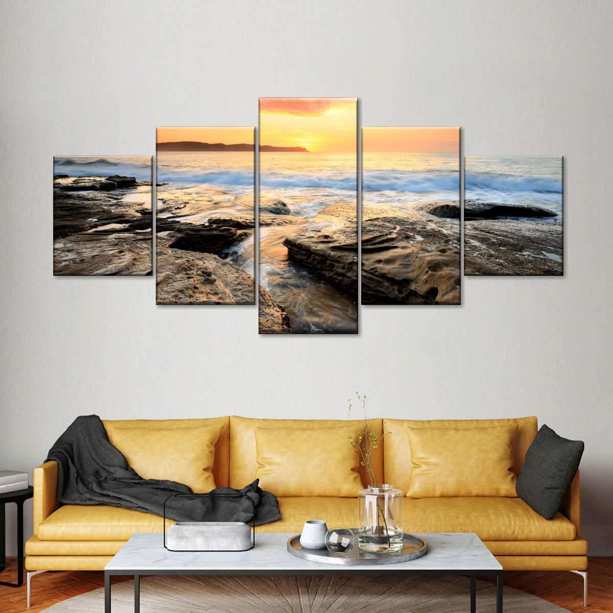 Pearl Beach Sunrise Multi Panel Canvas Wall Art